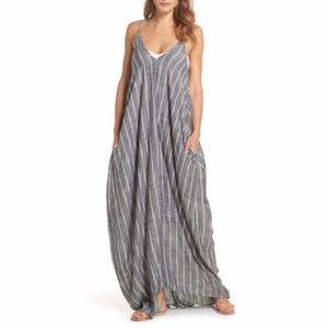 NWOT Cover-Up Maxi Dress ELAN Grey Chambray Stripe